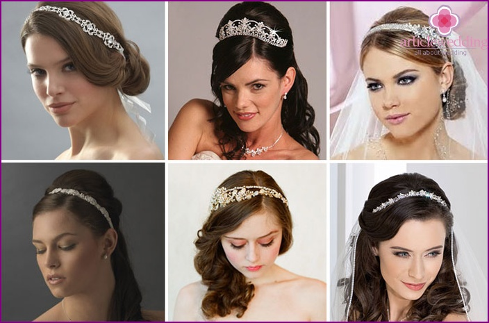 Tiaras-crowns, hoops for the bride