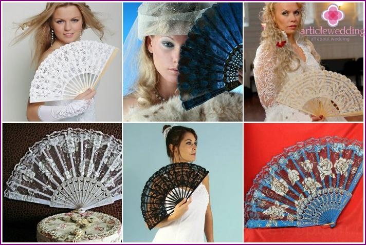Lace fan for wedding