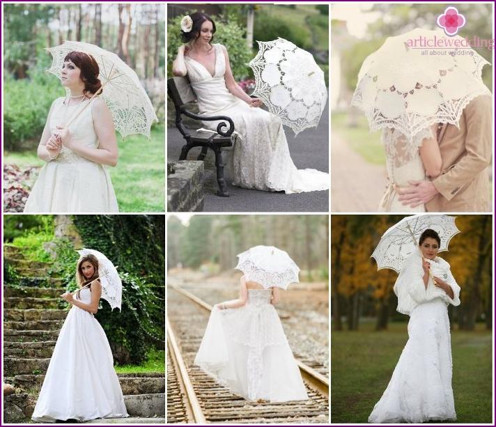 Lace Umbrellas for a Wedding