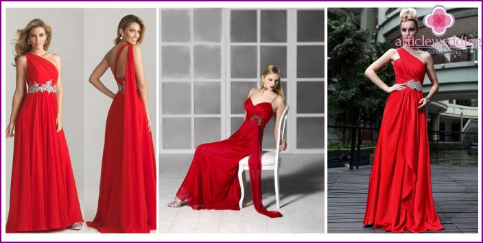 Empire red wedding attire