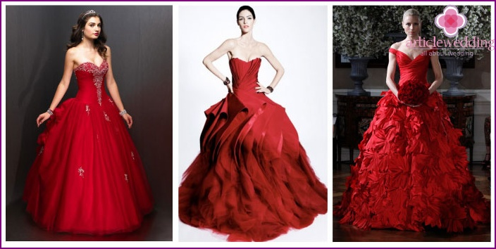 The bride in a red magnificent dress
