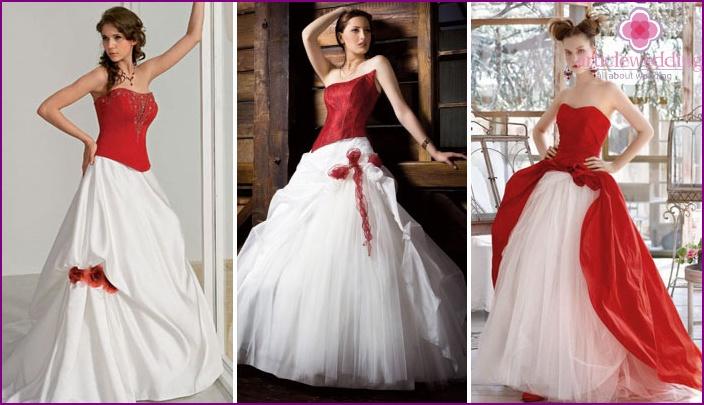Ein Spiel der Kontraste: weiße und rote Details eines Hochzeitskleides
