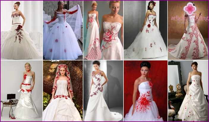 Red and white outfit with embroidery or rhinestones