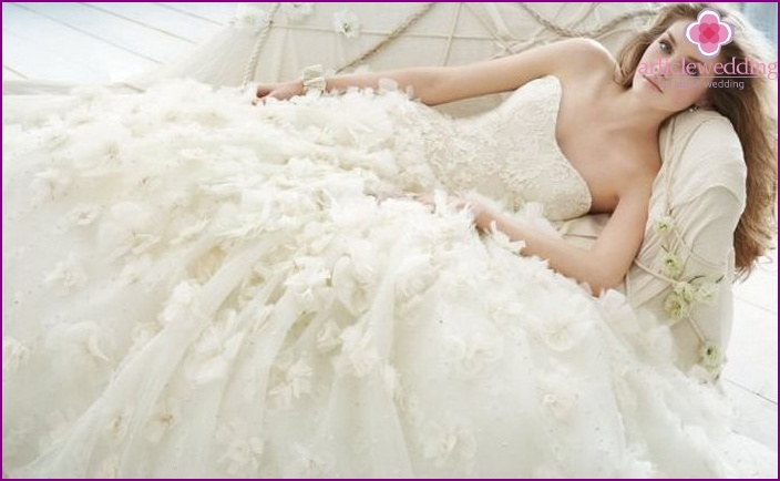 Bridal attire with multi-tiered skirt