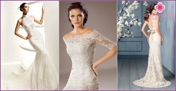 2015 Lace Skinny Wedding Dresses