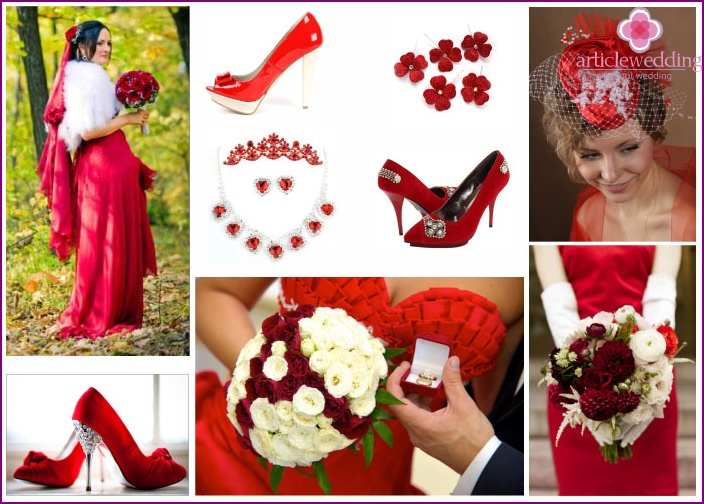 Red and white newlywed accessories