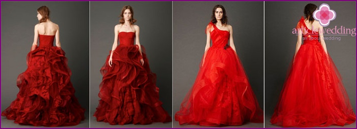 Fashionable red wedding dresses
