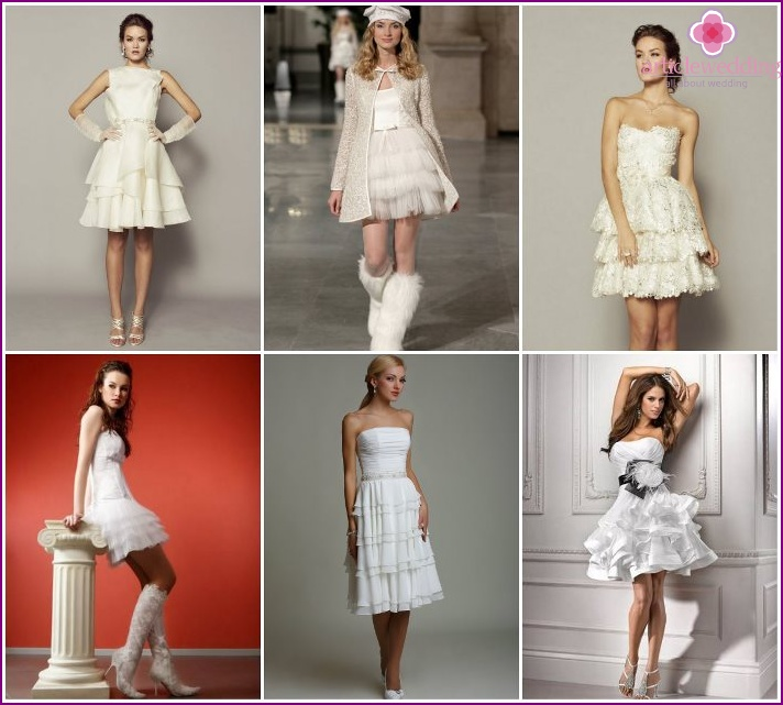 Short wedding with multi-tiered skirt
