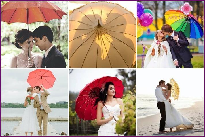 Colored umbrella for honeymoon