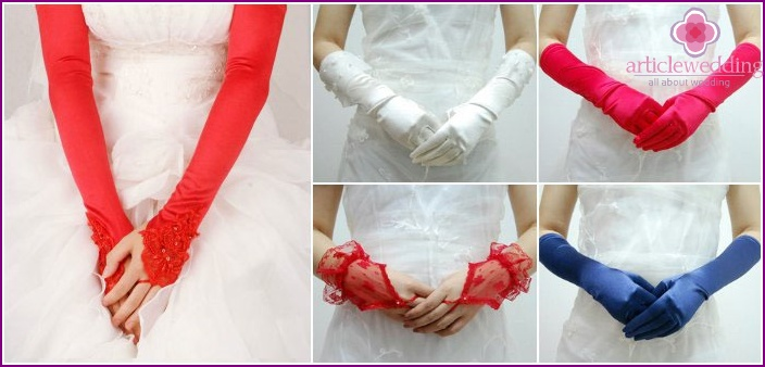Colored gloves for the bride