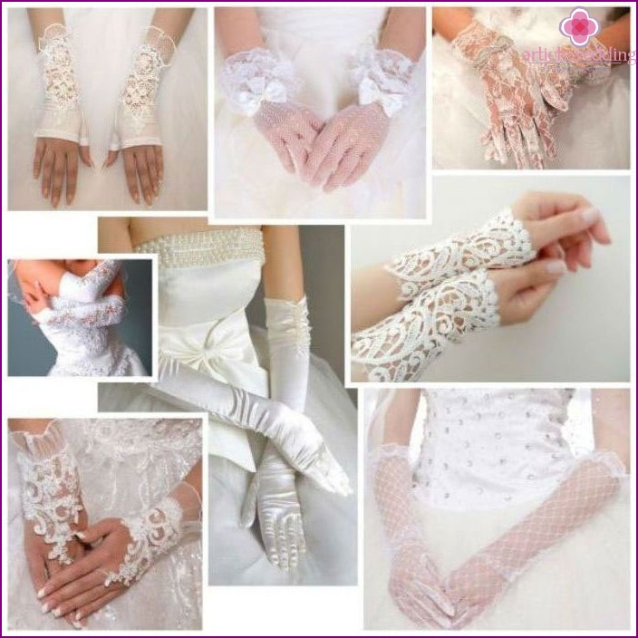 Gloves for a wedding from various fabrics