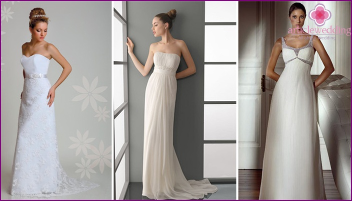 Straight wedding style in a simple cut