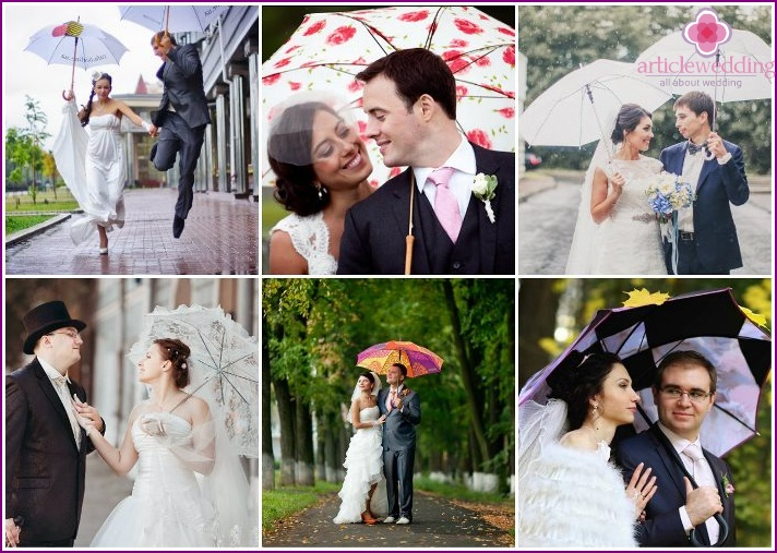 Wedding photos of newlyweds with umbrellas