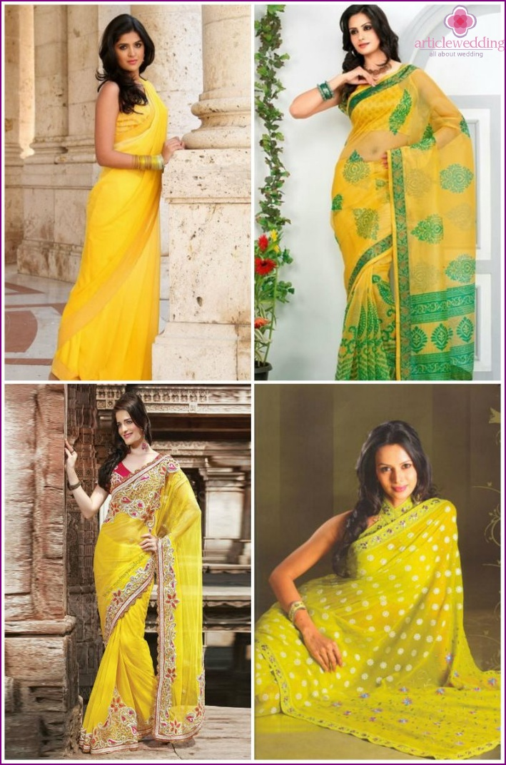 Yellow wedding sari