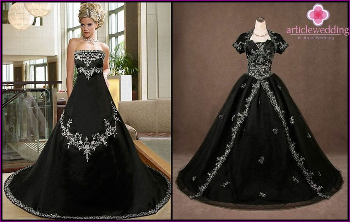 Gothic style in the dress of the bride