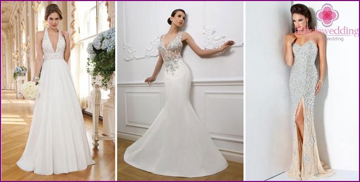 Empire style wedding dress with gemstones