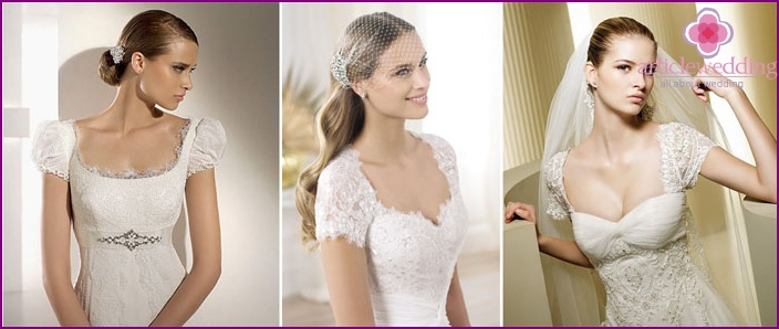 Models of wedding dresses with short sleeves