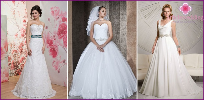 Wedding dresses with crystals on a belt