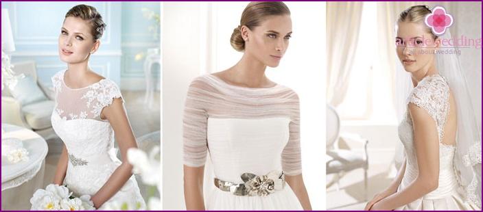 One-piece short sleeve wedding dress