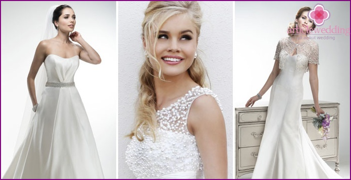 Pearl jewelry on a wedding dress