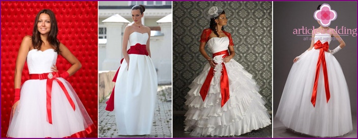Red ribbon on the dress of the bride