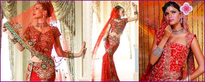 Indian bride in red sari
