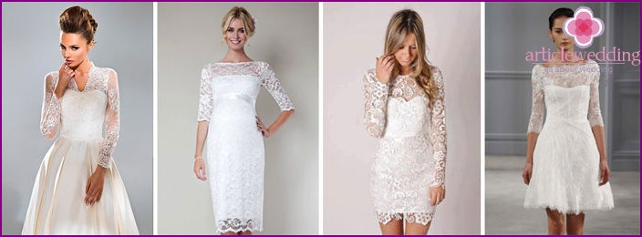 Styles of wedding models with lace sleeves