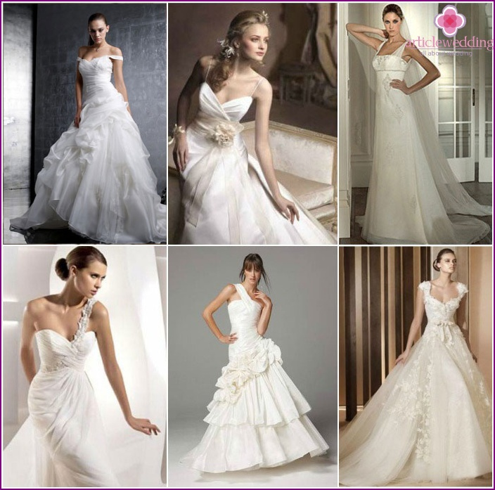 A variety of wedding dresses with straps
