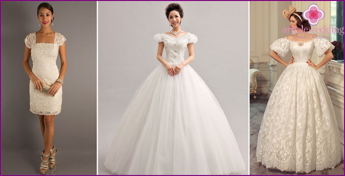 Lace sleeves wedding dress in the form of lanterns