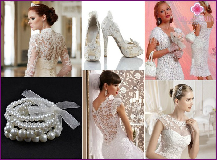 Accessories for the bride's dress with lace sleeves