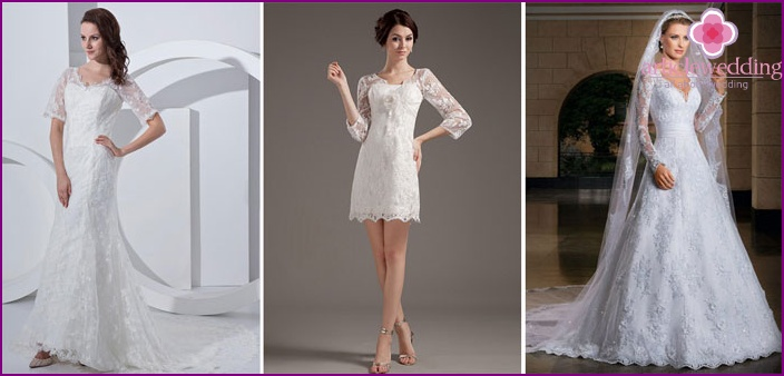 Shaped dresses with sleeves from lace for brides