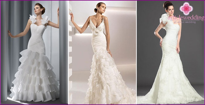 Wedding dresses with flowers and brooches