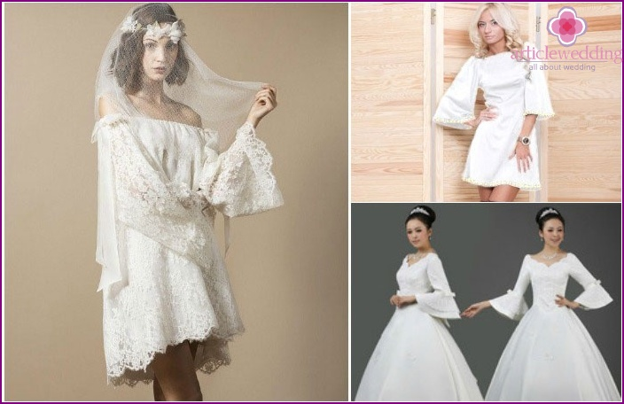 Ärmelglocken und Hochzeitskleidung