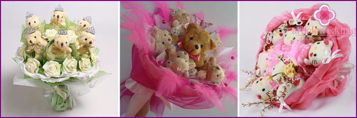 Composition with soft toys instead of a bride's bouquet