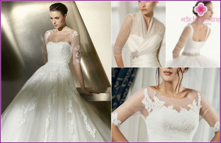 Sheer Illusion Sleeves in Wedding Dress