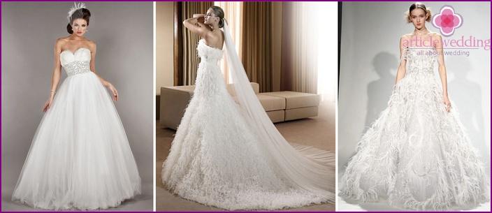 Feather Neckline Wedding Dresses