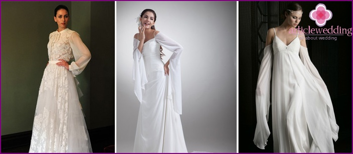 Bride dress with sleeves bell