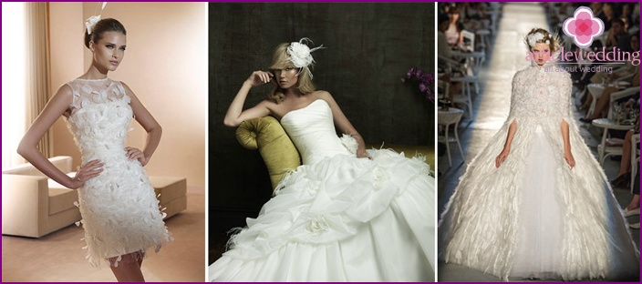 Styles of feather dresses of the bride