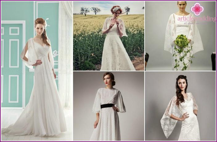 Flared Petal Sleeves Wedding Dress