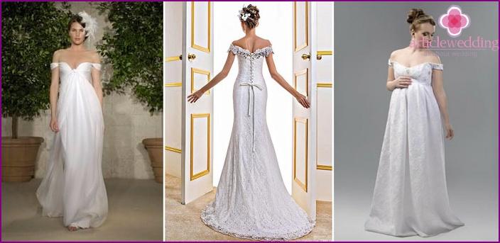 Straight Off Shoulder Wedding Dresses