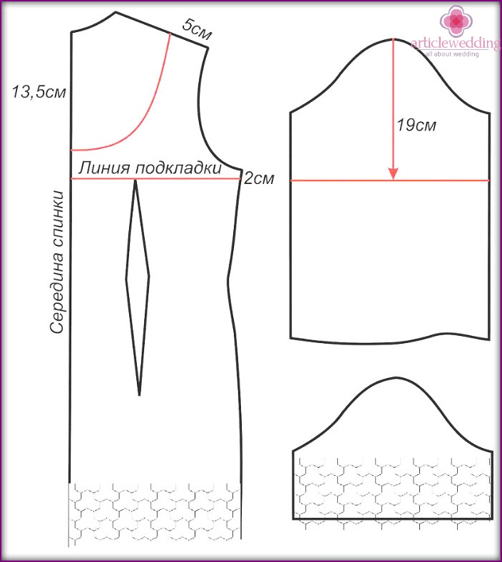 Pattern of a back and sleeves of lace wedding attire