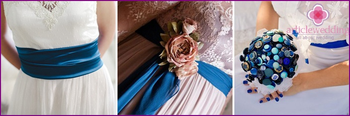 Saturated color accessories for the bride and groom