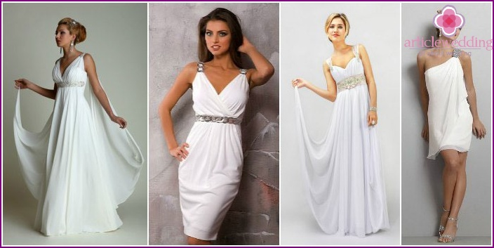 Styles of Greek outfits for brides