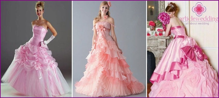 Pink shade of the bride's dress
