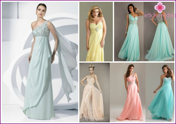 Neutral tones of wedding evening dresses