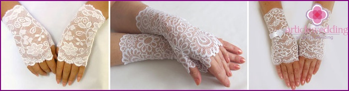 Romantic image of the newlywed: aerial lace on his hands