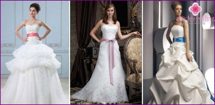 Wedding dress with a colored belt