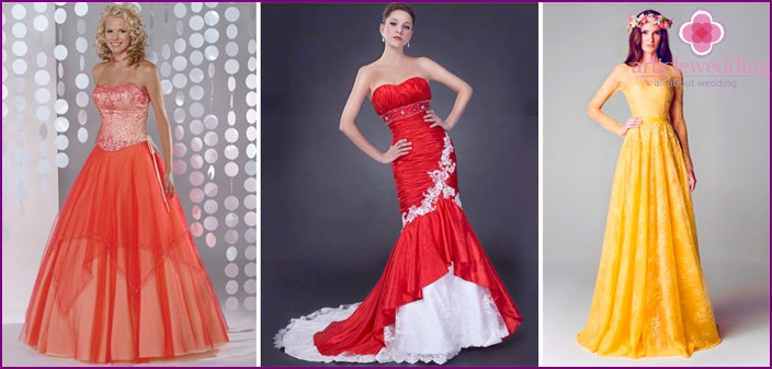 Colored dresses for brides 2015