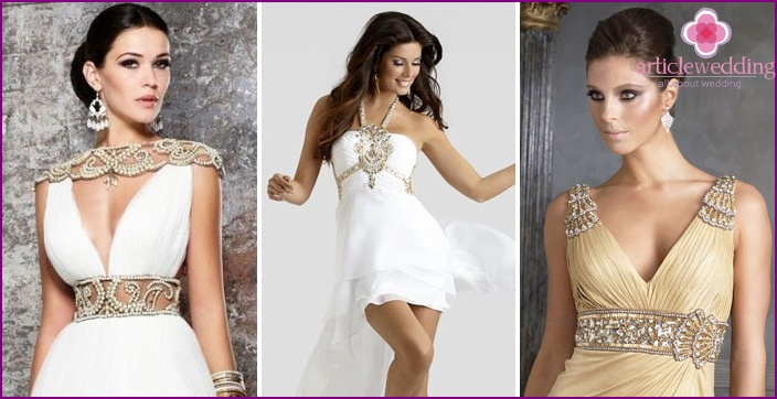 Greek wedding dresses with brooches