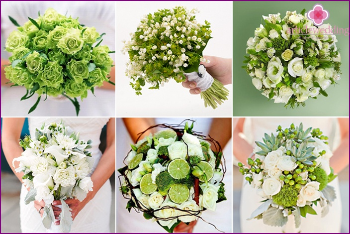 white and green honeymoon compositions